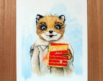 Ash. A4 Medium Fine Art Giclee Print. Fantastic Mr Fox. Wes Anderson Fan Art