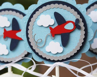 airplane toppers, cupcake toppers, airplane baby shower, airplane birthday, 1st birthday, baby shower decor, birthday decorations