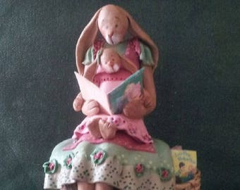 """hand sculpted polymer clay """"Read to me #1"""" mother/girl bunny figurine"""