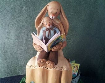 """hand sculpted polymer clay """"Read to me #2""""  mother rabbit/boy rabbit figurine"""