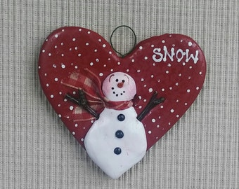 "hand sculpted polymer clay red heart ""SNOW' ornament"