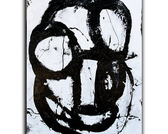 Black and White Abstract Painting on 24x30 canvas