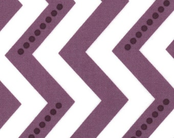 Dotted Zig Zag in Eggplant Purple, Simply Color Collection by Vanessa & Co for Moda Fabrics, Dotted Chevron, 1 Yard