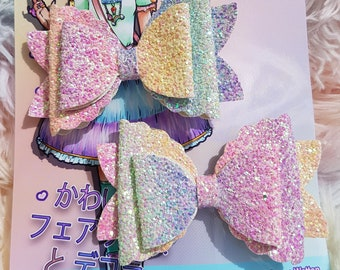 Decora Kawaii Sweet hairclip pair sets! Glitter Rainbow charming bow fashion