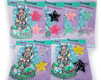 Glitter Star shape glitter resin brooch badge pin limited edition sets! LIMITED AVAILABILITY!! ~~Free UK postage~~