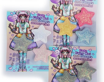Glitter Star shape soft brooch badge pin limited edition sets! Three sets available! ~~Free UK postage~~