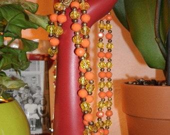 Vintage orange and yellow  bead necklace
