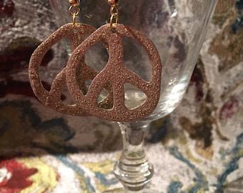 Glitter peace sign earrings