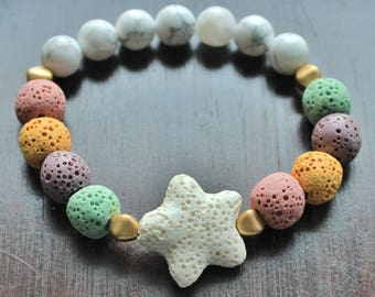 Unicorn Diffuser Bracelet, Star Bracelet, Unicorn Jewelry, Aromatherapy, Gifts for Her, Unicorn Bracelet, Lava, EO Jewelry, Valentine's Gift