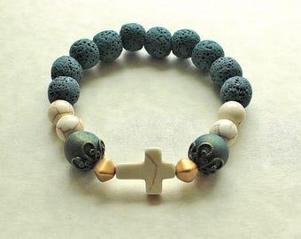 Elegant Cross Bracelet, Diffuser Bracelet, Cross Jewelry, Aromatherapy, Essential Oil Bracelet, Religious Bracelet, Religious Jewelry, Cross