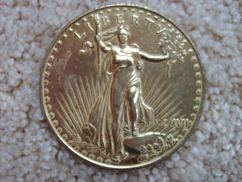 Oversized Souvenir Gold Twenty Dollar Coin, Replica St  Gaudens Double  Eagle Gold Coin