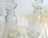 Glass Cruet Set, Crystal Oil and Vinegar Set, Princess House Heritage Pattern, Housewarming Gift, Wedding Anniversary, Retirement Gift