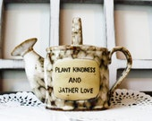 Ceramic Coin Bank, Watering Can, Anniversary Gift, Country Garden Decor, Vintage Bank, Sinking Funds, Plant Kindness and Grow Love