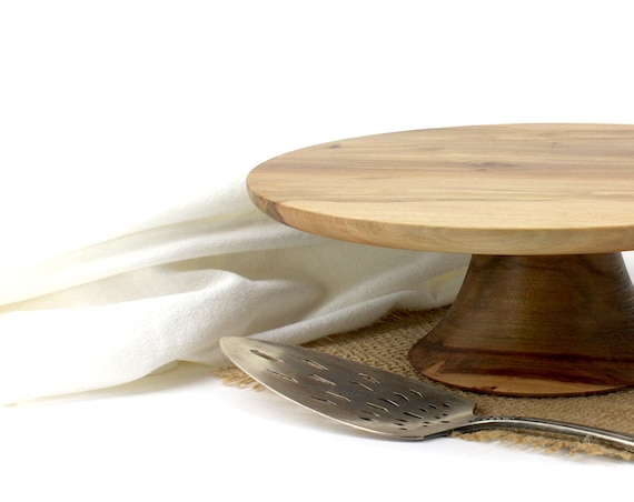 "10"" Wooden Cake Stand, Groom's cake stand, Wooden Pedestal Cake Plate, Cupcake Stand"