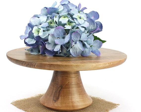 "12 3/4"" Wooden Maple Cake Stand, Wedding Cake Stand, Pedestal Cake Plate, Cupcake Stand, Dessert Pedestal, Hostess and Gourmet Gift"