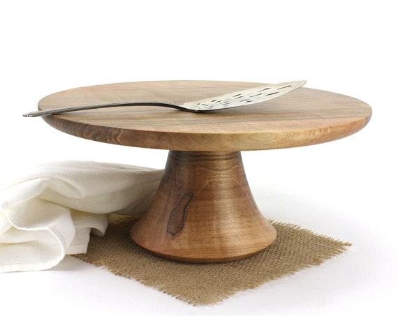 "12 3/4"" Wooden Maple Cake Stand, Wedding Cake Stand, Pedestal Cake Plate, Cupcake Stand, Dessert Pedestal, Hostess and Gourmet Gift"