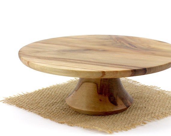 "9"" Wooden Cake Stand, Groom's cake stand, Sweet Gum Cake Stand ,Wooden Pedestal Cake Plate, Cupcake Stand"