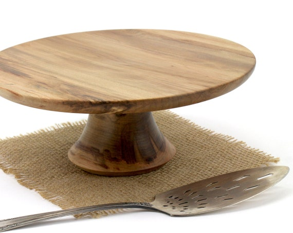 """10"""" Wooden Cake Stand, Groom's cake stand, Sweet Gum Cake Stand,Wooden Pedestal Cake Plate, Cupcake Stand"""