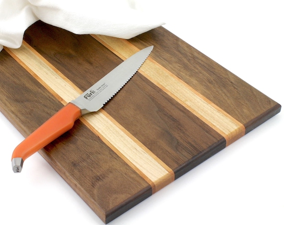 Wood Cutting Board, Handmade Multi-Wood Serving Board, Cheese Board