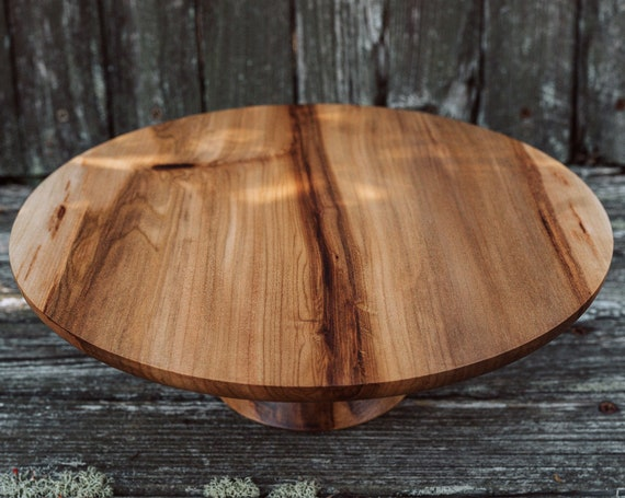 "10 7/8"" Wooden Cake Stand, Groom's cake stand, Sweet GumCake Stand, Wooden Pedestal Cake Plate, Cupcake Stand"