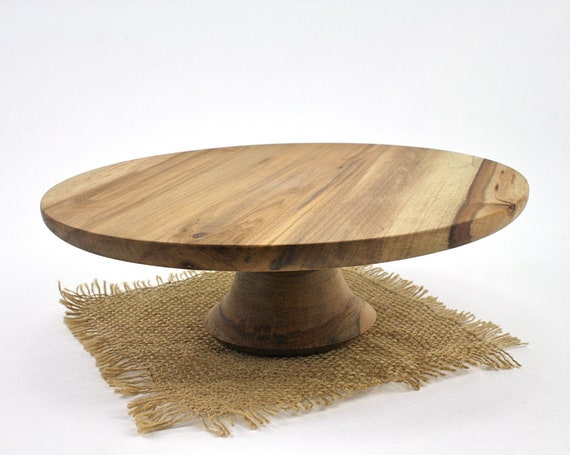 "10.875 "" Wooden Cake Stand, Groom's cake stand, Sweet GumCake Stand, Wooden Pedestal Cake Plate, Cupcake Stand"