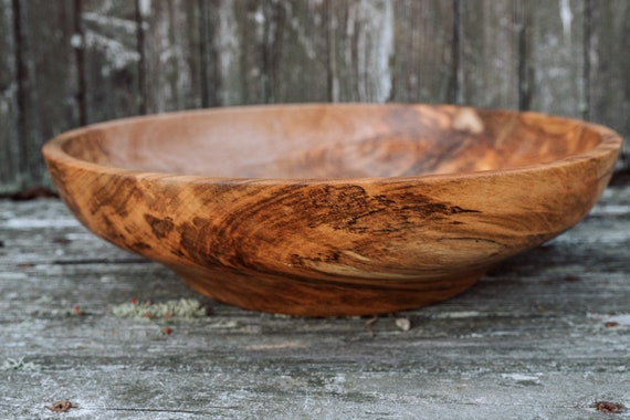 "14 7/8""Ambrosia Maple Wooden Bowl, Pasta Dish, Decorative Dish, Fruit Bowl, Popcorn Bowl"