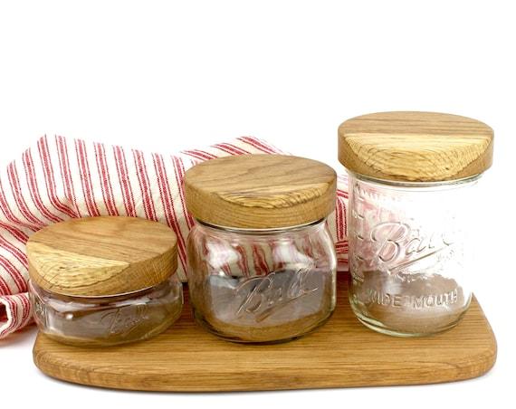 Wooden Spalted Oak Mason Jar Lids,Wood Jar Tops, Wood Lids For Ball Mason Jars, Stash jars