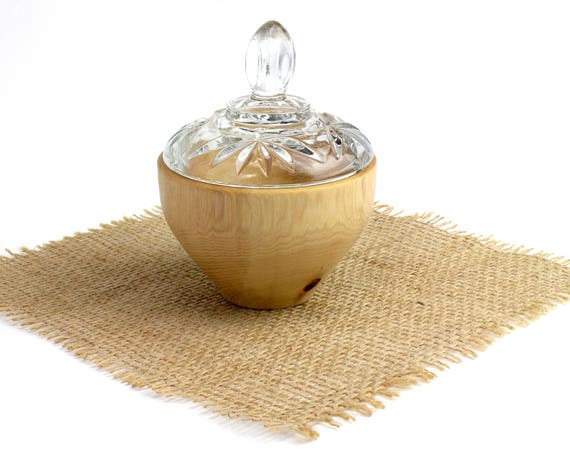 Wooden Round Pecan Box with Lidded Glass Cover/ Salt Dish/Trinket Box/ Candy Dish