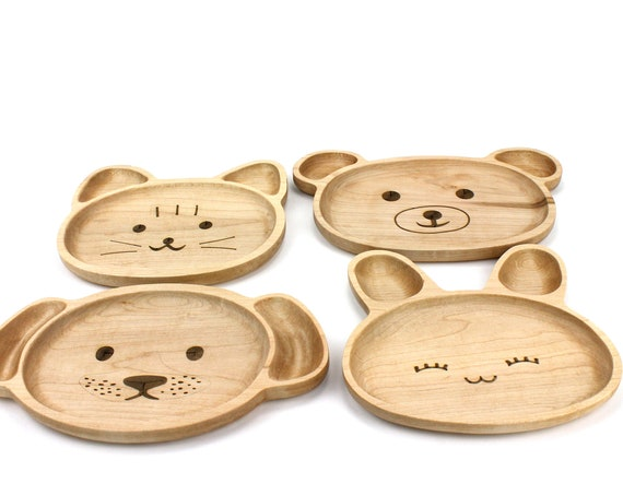 Wooden Personalization Child Plate, Kids Plate, Kids Snack Dish, Baby First Plate, Animal Face Plate,