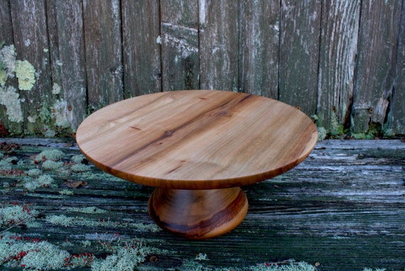 "9 1/8"" Sweet Gum Wooded Cake Stand / Pedestal Cake Plate /Cupcake Stand"