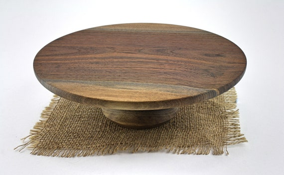 "9 5/8"" Walnut Cake Stand, Wood Cake Stand, Cake Platter, Grooms Cake Stand, CupCake Stand, Dessert Pedestal, Hostess and Gourmet"