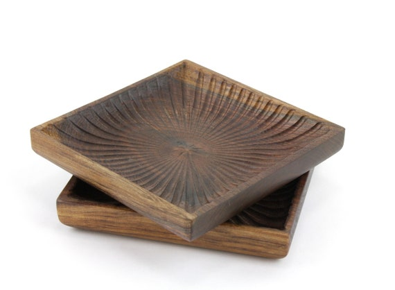 Set of 2 WoodenWalnut Square Bowls | Candy Dish | Nut Bowl | Wood Serving Set | |Catch All Tray | Jewelry Bowl