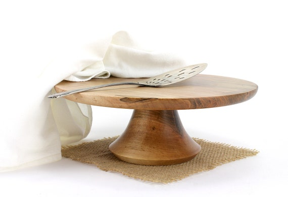 "11"" Wooden Cake Stand, Spalted Maple Cake Stand,  Pedestal Cake Plate, Wedding Cake Stand,Dessert Pedestal, Hostess and Gourmet"