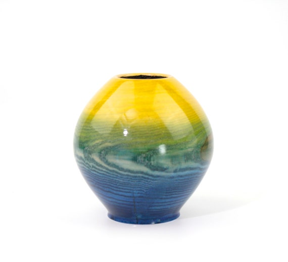 Wooden Blue, Green and Yellow Bowl, Dyed Vase / Home Decor