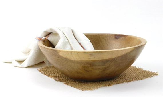 "9 1/2"" Wooden Sweet Gum Salad Bowl, Wooden Serving Dish, Pasta Bowl"