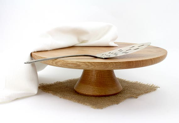 """12"""" Wooden Red Oak Cake Stand, Wooden Wedding CakeStand,  Pedestal Cake Plate ,Cupcake Stand"""