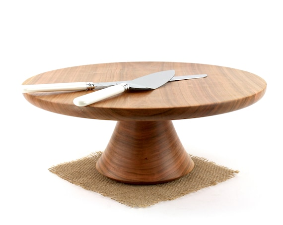 "14 1/4"" Cherry Wedding Cake Stand - Wooden Cake Stand - Cake Plate"