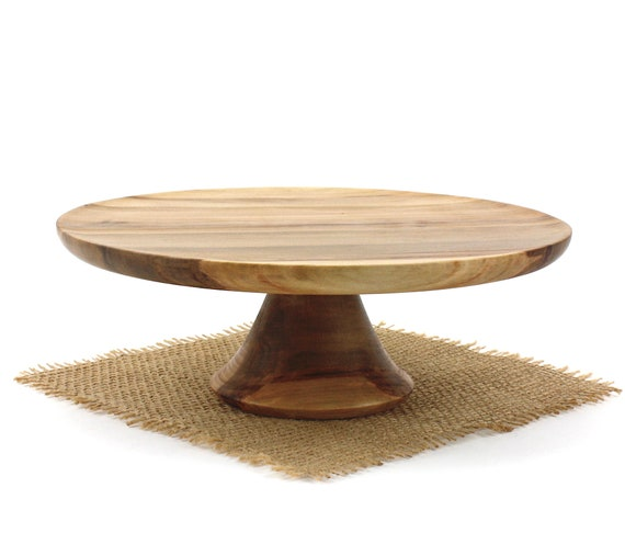 "9"" Sweet Gum Cake Stand, Wooden Pedestal Cake Plate, Groom Stand, Cupcake Stand"