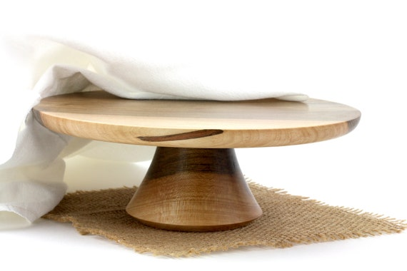 9 3/4 inches Wooden Maple Cake Stand / Pedestal Cake Plate /Cupcake Stand