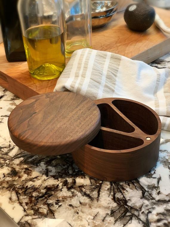 Three divider Wooden Salt and Pepper Box/Cellar, Spice Box, Wooden Spice Bowl, Rustic Cellar, Kitchen decor, Salt keeper
