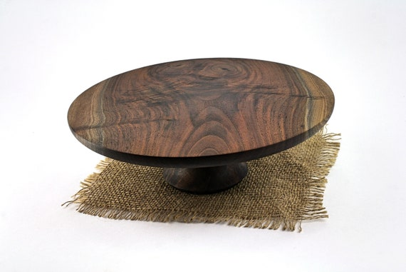 "10 1/8"" Walnut Cake Stand, Wood Cake Stand, Cake Platter, Grooms Cake Stand, Cupcake Stand, Dessert Pedestal, Hostess and Gourmet"
