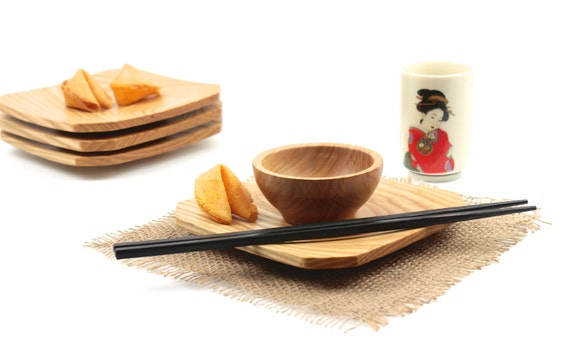 Appetizer Dessert Sushi Square Plates, Set of Four Plates