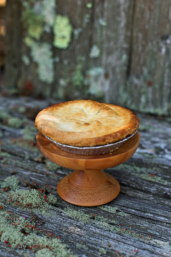 Pear wood Petite Cupcake Stand, Pedestal Cake stand/ Pedestal Dessert Plate