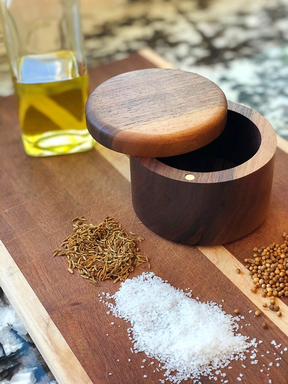 Wooden Salt and Pepper Box/Cellar Without Divider, Spice Box, Wooden Spice Bowl, Rustic Cellar, Kitchen decor, Salt keeper