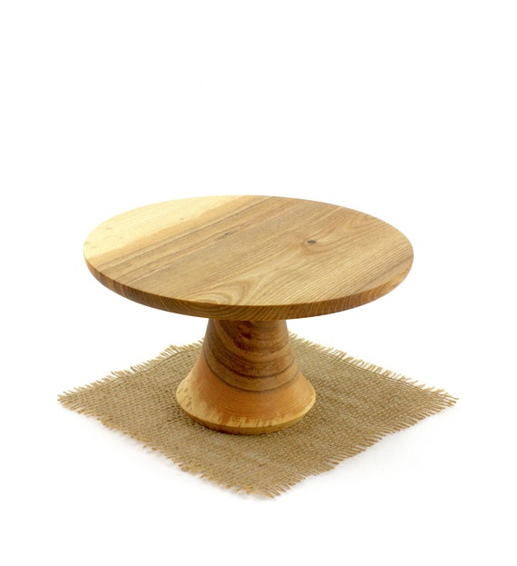 "9 1/2"" Wooden Hickory Cake Stand  / Pedestal Cake Plate /Cupcake Stand"