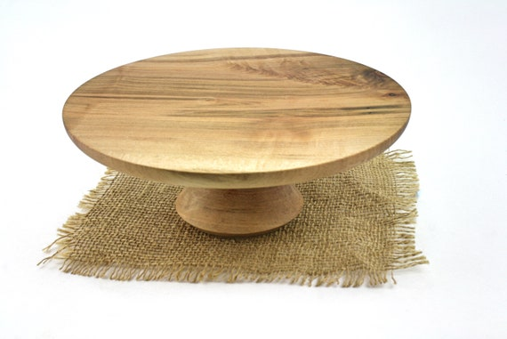 "9 1/4"" Wooden Cake Stand, Spalted Maple Cake Stand, Pedestal Cake Plate, Wedding Cake Stand, Dessert Pedestal, Hostess and Gourmet"