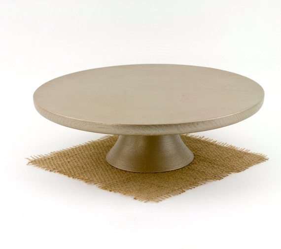 "11 1/2"" Gold Wood Cake Stand Anniversary Cake Stand Cupcake stand Wood Pedestal Cake Plate"