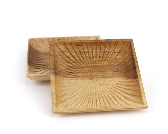 Set of 2 Wooden Elm Square Bowls | Candy Dish | Nut Bowl | Wood Serving Set | |Catch All Tray | Jewelry Bowl