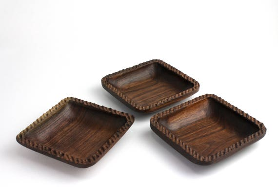 Set of 3 Wooden Walnut Square Bowls/ Candy Dish/ Nut Bowl/ Wood Serving Set/Catch All Tray/Jewelry Bowl