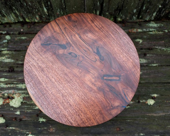 "13 3/4"" Walnut Wooded Cake Stand / Pedestal Cake Plate /Cupcake Stand"